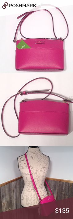 """Kate Spade Millie Grove St Sweetheart Pink NWT Pink Crossbody new with tags!  Leather with Kate Spade logo on front plaque.  Water and stain repellent.  Interior open slot and zip closure.    Front exterior slip pocket!  Interior is lined with pink Kate Spade logo fabric.  Adjustable 42"""" strap.  6 1/4"""" H x 9"""" L x 3"""" W. kate spade Bags Crossbody Bags"""
