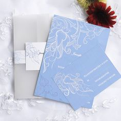 vintage powder blue pocket wedding invitation cards EWPI059 as low as $1.69