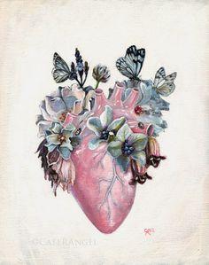 "the heart - ""Metamorphosis"" by Cate Rangel Tatoo Art, Arm Tattoo, Tattoo Baby, Chest Tattoo, Metamorphosis Art, Art Beat, Medical Art, Anatomical Heart, Human Heart"