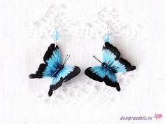 Подарок своими руками из полимерной глины: Серьги с голубыми бабочками