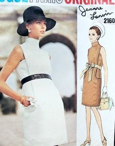 1960s Ultra Mod Lanvin Dress Pattern Vogue Paris Original 2160 Bust 32.5 Vintage Sewing Pattern