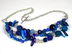 Blue Agate Aquamarine Jade Blue Sea Shell by PlatiniFineJewellery, $95.00