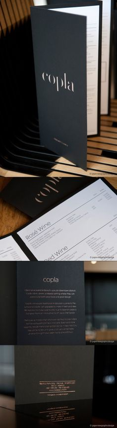A great use of a diecut on a menu cover. Not to mention the logo is so elegant. Well done! Designed by Paperview Graphic Design: http://www.paperviewdesign.com/ #designisvital http://www.paliosdesign.com