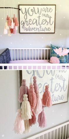 Love this Custom Yarn & Wood Tassel Mobile - Boho Tassel with Driftwood - Yarn Tassels - Handmade - Baby Girl Nursery Mobile #etsy #ad
