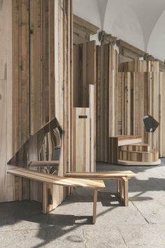Benedetta Tagliabue encases pillars of auditorium in Milan with playful wooden furniture Wooden Furniture, Furniture Design, Milan Design Week 2017, Micro Apartment, Wooden Cabinets, Auditorium, 15th Century, Joinery, Design Inspiration