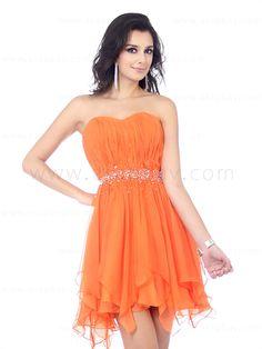 Pretty orange ruched A line dress with bias cut hemline beading waistline sweetheart neckline E22375$96.99 #asapbay