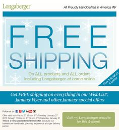 Free shipping for the rest of the month! Check out the sales and specials and don't worry about the shipping www.longaberger.com/mariaj  Join a party or ask for your own party!