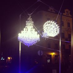 """Levitated chandelier"", Kafkas Square, Prague #signalfestival #architecture #prague #lightart, #installation #videomapping www.signalfestival.com"