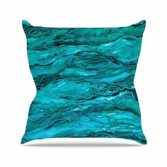 KESS InHouse JD1261AOP03 18 x 18-Inch 'Ebi Emporium Marble Idea! - Light Teal Aqua Blue' Outdoor Throw Cushion - Multi-Colour *** Read more details by clicking on the image. #GardenFurnitureandAccessories