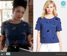 Beth's blue embellished top on Chasing Life. Outfit Details: http://wornontv.net/51306/ #ChasingLife