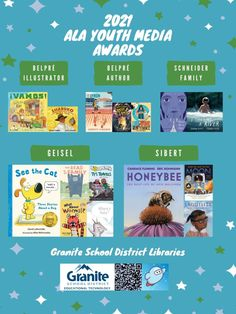 Posters: 2021 ALA Youth Media Awards – Granite Media Library Posters, Coretta Scott King, American Library Association, Book Lists, Granite, Good Books, Awards, Youth, Author