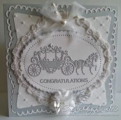 Crafty Kendalian: New Tattered Lace Embossing Folders Anniversary Crafts, Wedding Anniversary Cards, Wedding Invitation Cards, Invitations, Hand Made Greeting Cards, Making Greeting Cards, Wedding Cards Handmade, Beautiful Handmade Cards, Horse And Carriage Wedding