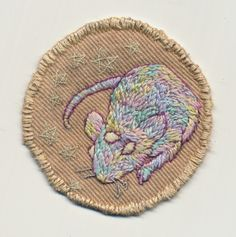 crafts pastel mouse rat pastels applique Mutant patch badge embroidered hand embroidery glow-in-the-dark merit badge Embroidery Patches, Embroidery Art, Cross Stitch Embroidery, Embroidered Patch, Cool Patches, Pin And Patches, Punk Patches, Textiles, Bear Claws