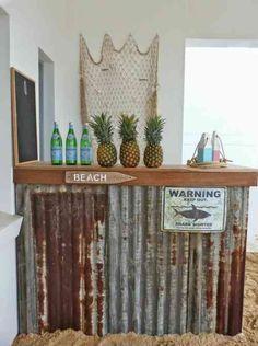 bar de jardin en tôles et plage