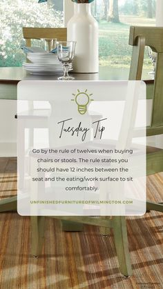 TUESDAY TIP: Rule of Twelves 📏 Use the rule of twelves to find the perfect chair or stool for your eating or work surface. The rule states you should have 12 inches between the seat and the surface above. For example, you should use a stool with a 24-inch seat height with a 36-inch high counter. This will ensure there is enough room to get in and out comfortably and you won't tower over or struggle to reach the surface. #TuesdayTip #Furniture #Wood #DIY #UnfinishedFurnitureofWilmington Unfinished Furniture, Stool, Chair, Work Surface, Kitchen Dining, Counter, Tuesday, Solid Wood, Tower