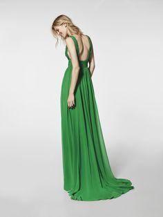 Imagem do vestido de festa verde (62032). Vestido GROE comprido com alças