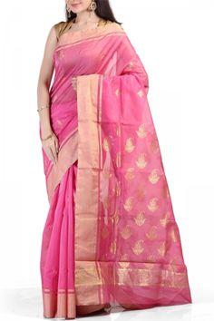 05de847046 Pink Chanderi Silk Cotton Saree Silk Cotton Sarees, Saree Dress, Online  Shopping Stores,