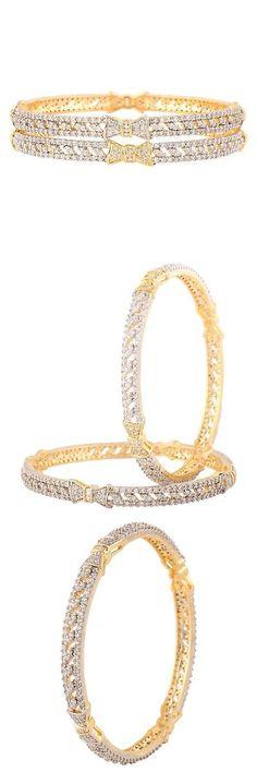 Bracelets 98509: Swasti Jewels Women S American Diamond Zircon Fashion Jewelry Bangle Set (2 P... -> BUY IT NOW ONLY: $31.17 on eBay!