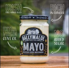 Taste the difference with Ballymaloe Mayonnaise. Made in small batches with natural ingredients, our Mayo is the perfect finish to sandwiches, salads & burgers! Christening Gowns Girls, Mayonnaise, Burgers, Mason Jars, Salads, Sandwiches, Mugs, Natural, Tableware