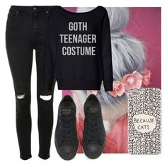 """""""crappy set-sorry"""" by tay-tay-marie ❤ liked on Polyvore featuring Topshop, Retrò and Converse"""