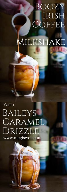 This Boozy Irish Coffee Milkshake with Baileys Caramel Drizzle is based off an Irish Coffee. Vanilla ice cream, espresso, and Jameson whiskey creates that Irish Coffee taste while Baileys caramel sauce and whipped cream enhance the flavor and increase the wow factor.   http://www.megiswell.com