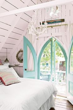 Cottage Master Bedroom with Pendant light, Mullican Flooring Mullican 4-in W Prefinished Hickory Hardwood Flooring (Saddle)
