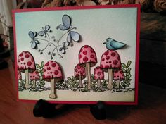 Woodland Mushroom Whimsical Scene with Butterflies and a Bird
