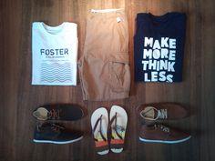 look com camisetas, bermuda cargo, sapatênis e chinelo, (tees , t-shirt, sneakers, flip-flop)