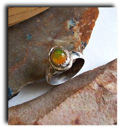 Fire, fire, fire opal set in sterling - made to your size just leave a note with your size at check out