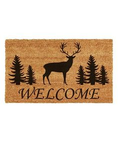 Elk Forest Welcome x Coir/Vinyl Doormat - Natural/black Coir Doormat, Clean Shoes, Mold And Mildew, Baby Shop, Country Chic, Mens Gift Sets, Baby Clothes Shops, Elk, Baby Shower Gifts