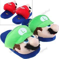Plush Cute Cartoon Design Winter Keeping Warm Indoor Bedroom Slippers Shoes Footwear Household Item - Super Mario FAA-64054