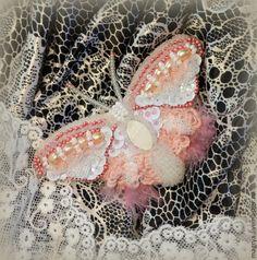 Брошь бисер+ жемчуг Бабочка Розовая Нежность - бледно-розовый,брошь,брошь ручной работы