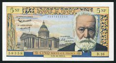 France Currency 5 New Francs Victor Hugo banknote of 1959, issued by the Bank of…