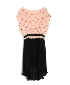 Color Block Chiffon Dress with Bowknots Print