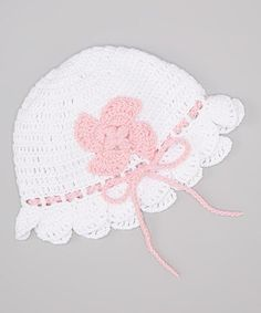Look at this #zulilyfind! Pink and Blue Knitwear White & Pink Flower Bow Crocheted Beanie by Pink and Blue Knitwear #zulilyfinds