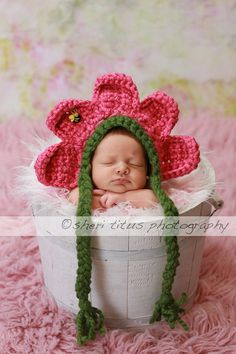 My LiL Pink Baby Flower Bonnet Hat with Bumble by ForStitchesSake, $22.50