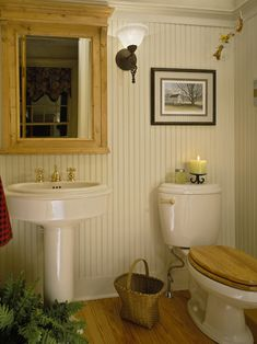 Cottage Bathrooms Design ... tall beadboard and beautiful trim ...