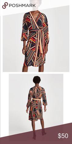 Zara sarong dress. Zara sarong dress. XS. NWT. 100% polyester. Still debating on if I want to sell. Zara Dresses Midi