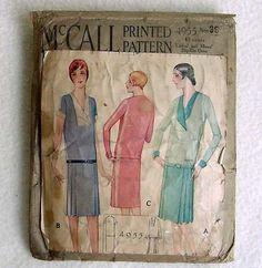 Flapper Dress Flock Sewing Pattern 1920s McCall 4955 Bust 36