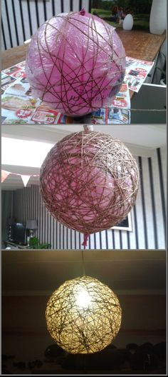 Ballon + behanglijm + rol touw = lamp