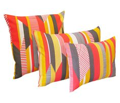 Textured Stripe Cushion: Pink, Grey, Yellow by Tamasyn Gambell