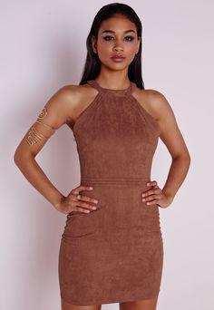 Faux Suede Topstitch Bodycon Dress Tan, Brown