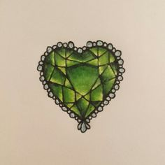Emerald heart tattoo