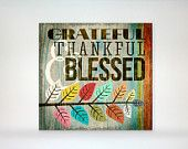 """Grateful, Thankful & Blessed 7""""x7"""" Wood Block Art Print - Autumn Leaves, Typography - Holiday - Thanksgiving Home Decor"""