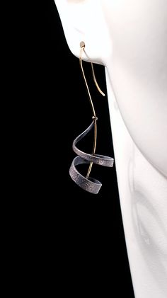 "Andy Cooperman Jewelry - Shibuichi, 14k yellow gold earwires. Length varies, appox. 2"" pictured."
