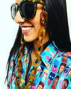 Conceito em corrente para óculos, camisa custom De Laurentis e óculos de sol Ahlem