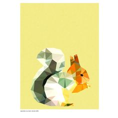 Geometric squirrel art print - hardtofind.