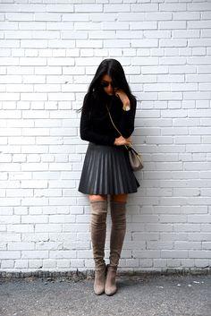 J Crew Pleated Leather Skirt | Not Your Standard http://FashionCognoscente.blogspot.com