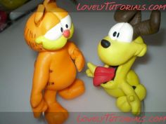 Tutorial modelado garfield y Oddy Polymer Clay Figures, Polymer Clay Projects, Clay Crafts, Garfield Birthday, Biscuit, Sweet Little Things, Fondant Decorations, Character Cakes, Cute Clay