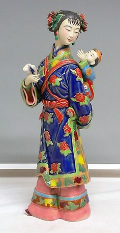RP:  Mother & Child Chinese Porcelain Figurine  - art-sam.com